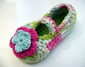 Cotton child/girl Mary Jane slippers with 2 dimensional flower in bright green and spring time (pink, aqua, lime, buttercup, cream)