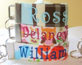 Set of 2 One side with Name  kids backpack tags or beach bags custom to your liking Great for birthday parties to give out as a thank you