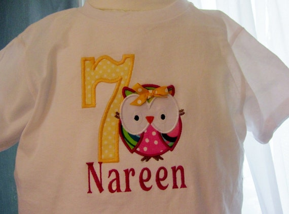 Michelle Dobes Personalized Short sleeve Embroidered Applique Owl and Number onesies or T shirt with name or saying