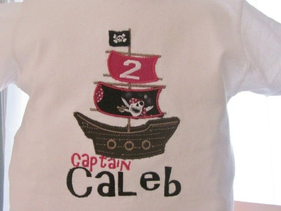 Short Sleeve Pirate Ship  Embroidered Applique shirt or onesie with name Custom to your liking