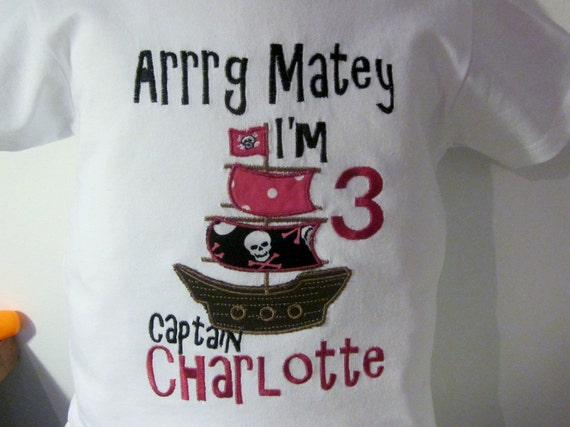 Girls and Boys Short  Sleeve Pirate Ship  Embroidered Applique shirt witn saying and name