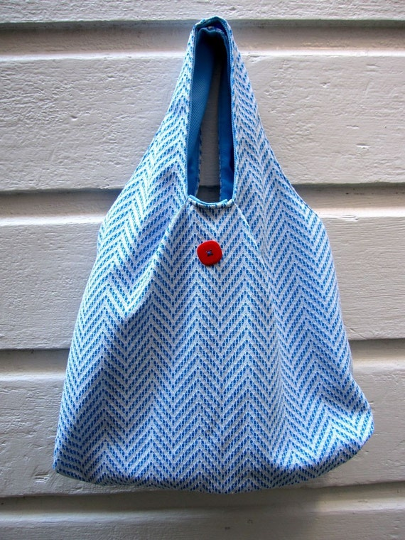 Tote Shopping Bag from Reclaimed Vintage fabric with Blue Chevron Pattern
