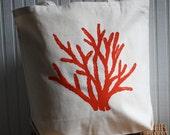 Coral Tote Bag Hand Screened
