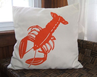 Lobster silk screened pillow cover