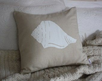 White Conch Silk Screened Pillow Cover