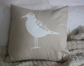 Seagulll White Silk Screened Pillow Cover