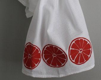 Grapefruit slices screen printed kitchen towel Flour Sack towel