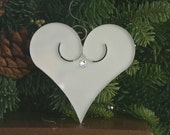 CUSTOM LISTING for Cassie 6 - Glass Heart Ornaments With a Swarvoski Crystal