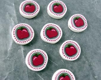 Handmade Apple Beads Horizontal Hole, Fruit Apple Fimo Bead, Polymer Clay Fimo Bead, Handmade Polymer Clay Bead, Polymer Clay Bead Findings