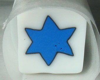 Handmade David Star Polymer Clay Cane, Millefiori, Nail Art, Jewelry, FIMO