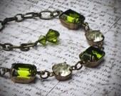 Vintage Rhinestone Bracelet, Bride, Wedding, Olive, Green, Jewelry by Rewelliott on Etsy