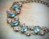 Vintage Rhinestone Bracelet, Bride, Wedding, Blue, Aquamarine, Jewelry by rewelliott on Etsy