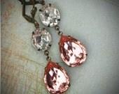 Vintage Rhinestone Earrings, Bride, Wedding, Antiqued Brass, Peach Pink Bridal Earrings, Jewelry by rewelliott on Etsy