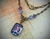 Vintage Rhinestone Necklace, Swarovski, Bride, Wedding, Antiqued Brass, Purple, Blue, Jewelry by rewelliott on Etsy