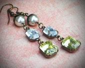 Vintage Rhinestone Earrings, Bride, Wedding, Swarovski, Pearl, Yellow, Crystal, Jewelry by rewelliott on Etsy