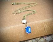 Vintage Rhinestone Necklace, Sapphire, Blue, Bride, Wedding, by rewelliott on Etsy