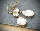 Vintage Rhinestone Earrings, Bride Wedding Jewelry, Diamond Edwardian