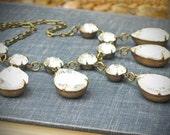 Vintage Rhinestone Necklace, Bridal Wedding Jewelry, Crystal Edwardian
