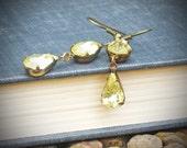 Vintage Rhinestone Earrings, Bride, Wedding, Yellow, Lemon, Citrine