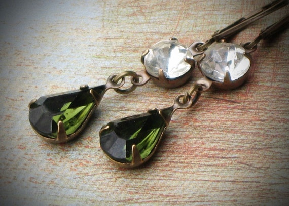 Vintage Rhinestone Earrings, Bride, Wedding, Olive, Green, Jewelry by rewelliott on Etsy