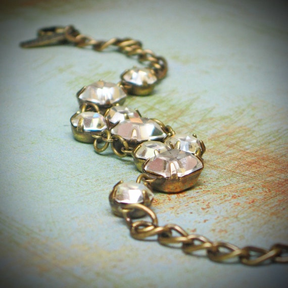 Vintage Rhinestone Bracelet, Bride, Wedding, Crystal, Clear, Jewelry by rewelliott on Etsy