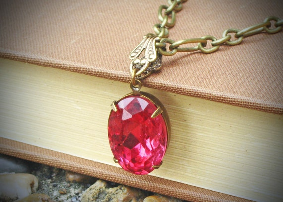 Vintage Rhinestone Necklace, Pink, Rose, Brass, Jewelry by rewelliott on Etsy