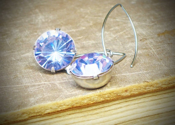 Vintage Rhinestone Earrings, Alexandrite, Lilac, Aqua, Silver