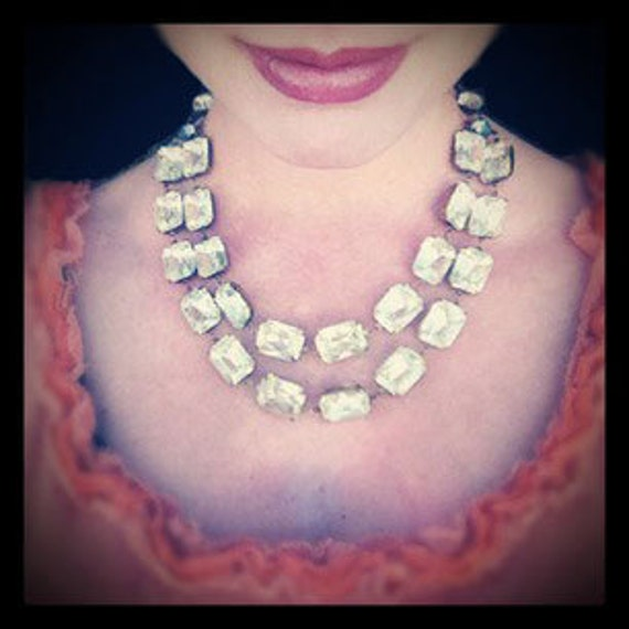 Vintage Rhinestone Statement Necklace, Wedding, Bridal, Jewelry