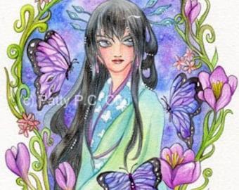 Original Watercolor Asian Butterfly Maiden --Mat--