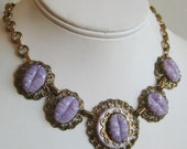 Vintage 40s Gold Link Filigree Purple Cabochon Exotic Czech Choker Necklace
