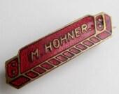 Vintage M. Hohner Harmonica Red Enamel & Brass Czech Lapel Pin