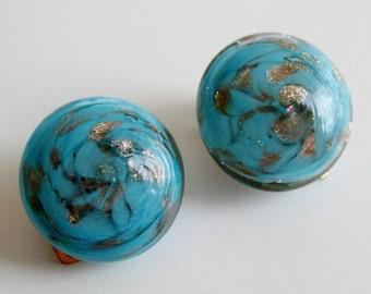 Vintage 50s Italian Murano Blue and Gold Swirl Aventurine Fleck Art Glass Round Clip Earrings