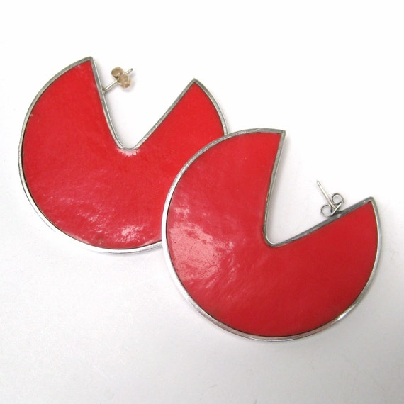 Reserved - Vintage 60s Sterling Silver Red Glass Slice Disc Mid Century Modernist Earrings