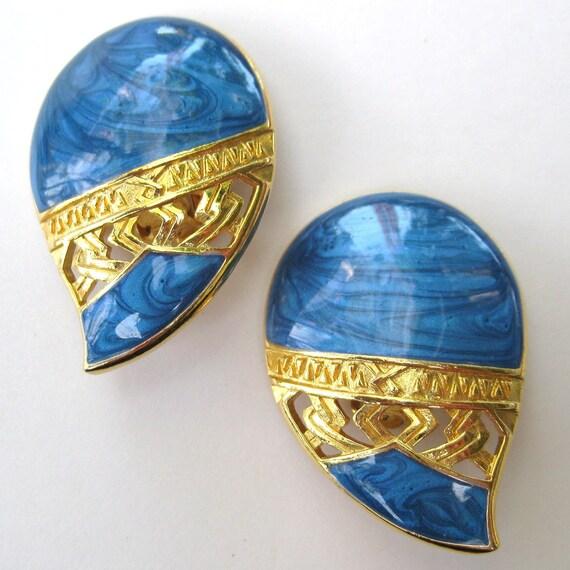 Vintage 70s 80s Glam Edgar BEREBI Designer Blue Swirl Enamel Gold Clip Earrings