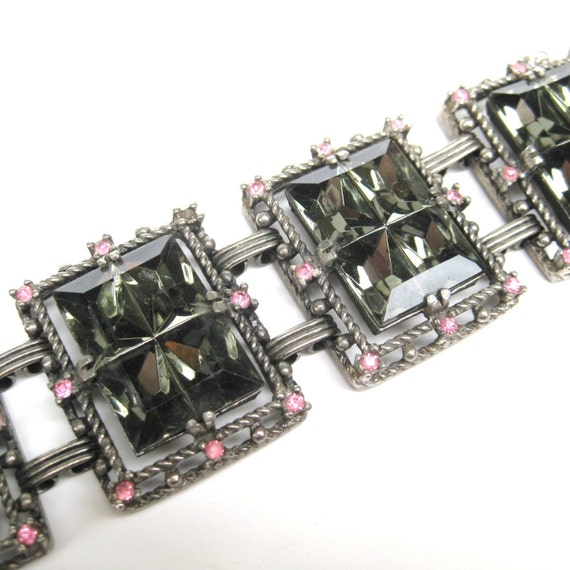 Vintage 60s 70s Sarah Coventry Midnight Magic Pink and Smoky Gray Emerald Cut Rhinestone High Glam Chunky Designer Bracelet