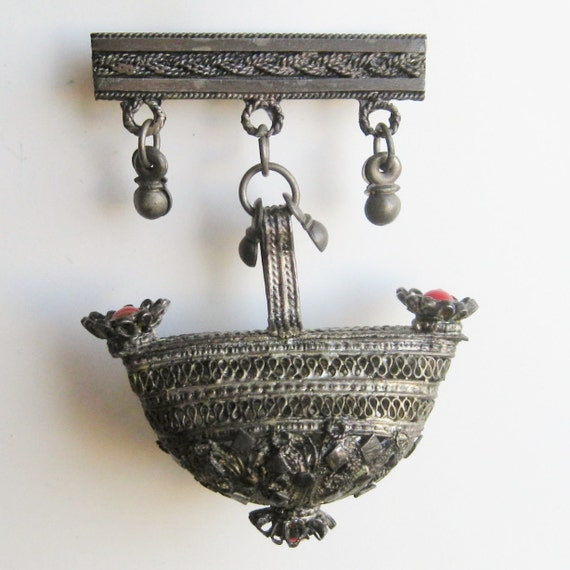Reserved - Vintage Etruscan Italian 800 Silver Coral Red Ornate Fob Bar Pin Dangle Brooch
