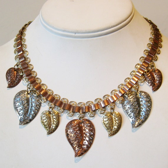 Vintage 40s 50s Gold Silver Bronze Mixed Metals Falling Leaves Filigree Choker Charm Necklace
