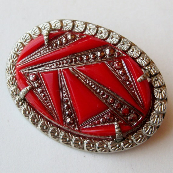 Vintage 20s 30s Art Deco Cherry Red Czech Art Glass Silver Framed Brooch