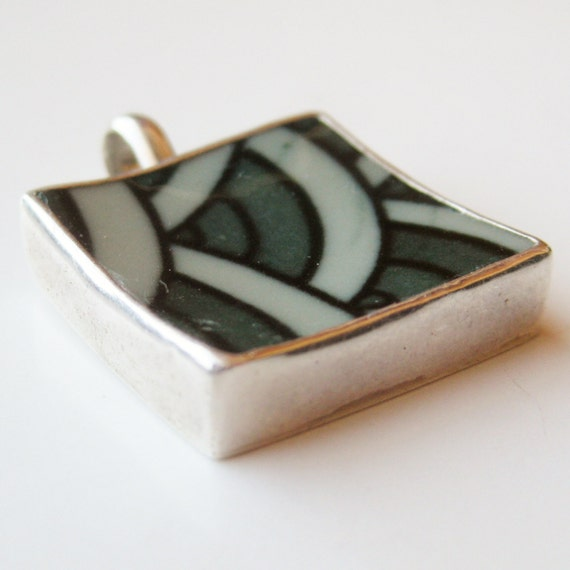 Vintage Mid Century Modern Mexican 925 Sterling Silver Ceramic Necklace Pendant