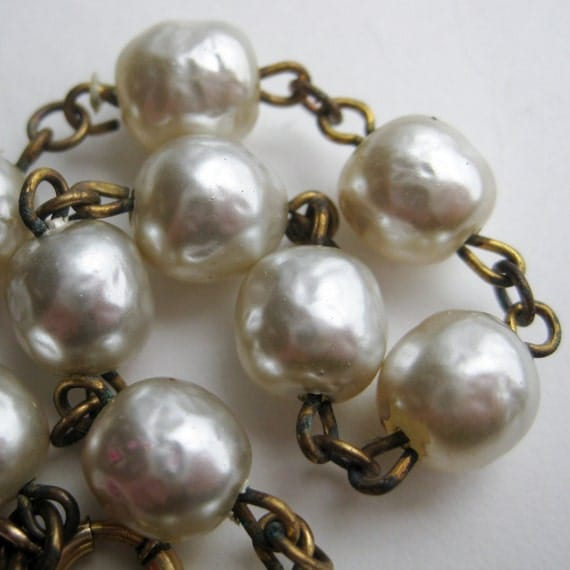 Reserved - Vintage 50s Miriam Haskell Style Baroque Pearl Glamour Girl Bracelet