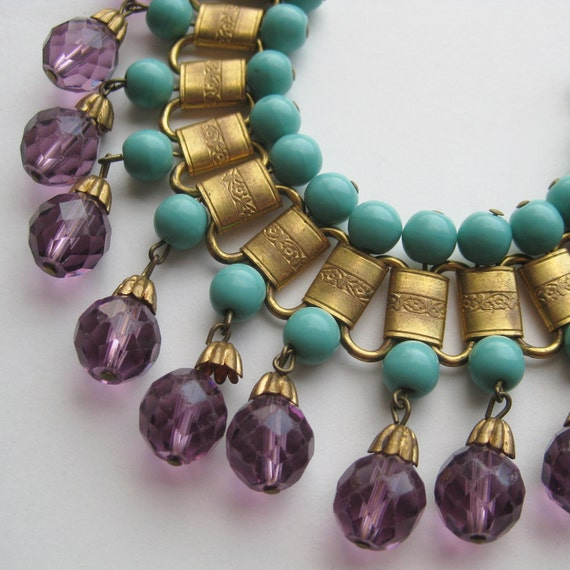 Reserved - Vintage 50s Miriam Haskell Style Eqyptian Revival Gold Link Amethyst Glass Bead Designer Bracelet
