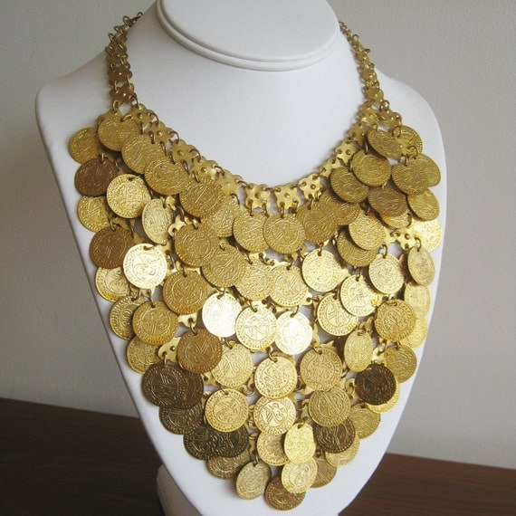 Vintage 50s 60s Pennies From Heaven Gypsy Fortune Teller Gold Coin Dramatic Bib Collar Necklace