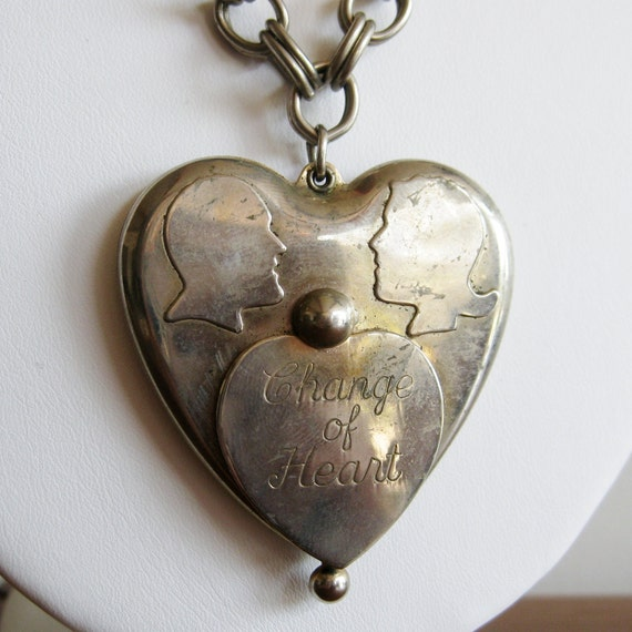 Reserved - Vintage 50s Change of Heart Silver Spare Change Locket Pendant Necklace Chain