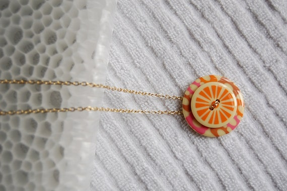 Orange Slice Retro Necklace button necklace button jewelry orange retro modern
