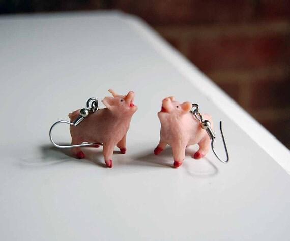 SALE - Pig Earrings farm animals farm toys vintage farm