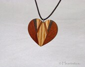 Wide Open Chevron Heart - Wooden Pendant / Necklace in Four Different Woods