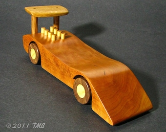 Can Am Race Car - Commemorative Engraving Available -  Wooden Classic Car  -  Solid Wood Collectible Toy Car in Reclaimed American Hardwoods