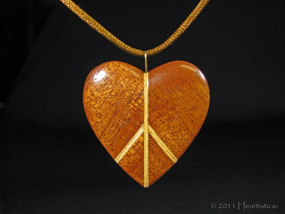 Peaceful Heart - Inlaid Mahogany and Ash - Wooden Pendant Necklace