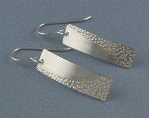 Zen Small Silver Rectangular Earrings