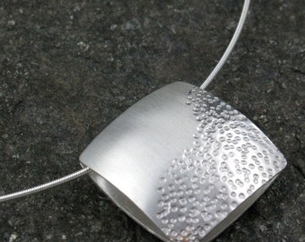 """Zen Silver Reversible Textured Pendant on Neckwire, """"Pebble and Sand Pendant"""""""